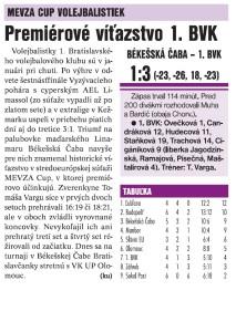 denník šport 17.1.2017- Premiérové víťazstvo v MEVZA